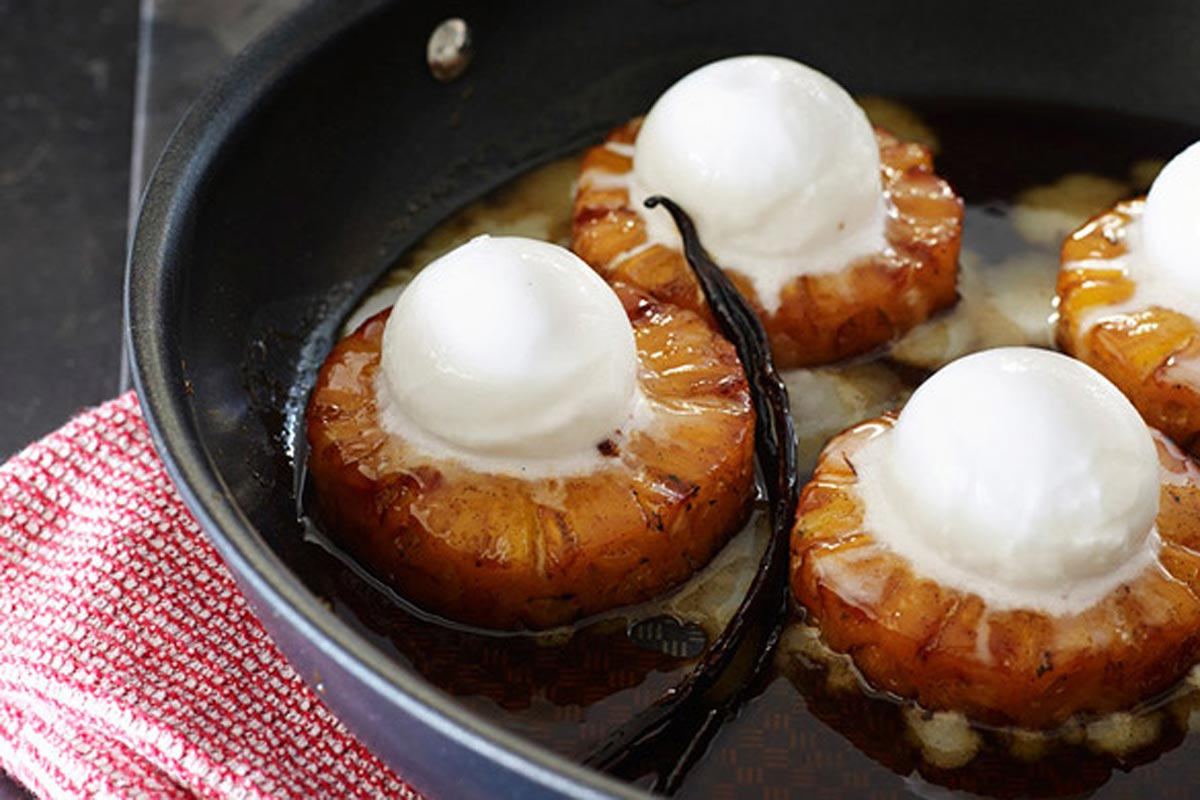 Roast Pineapple with Coconut Sorbet recipe and a day in the kitchen with Guillaume Brahimi and Tefal Heritage
