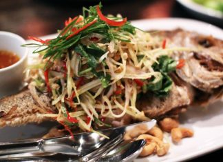 Deep fried snapper with green mango salad at Spice I Am
