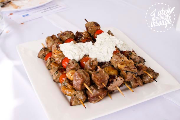 Lamb skewers on a plate - Sydney Cove Oyster Bar Harbourside Beach Barbie, Good Food Month 2013 event
