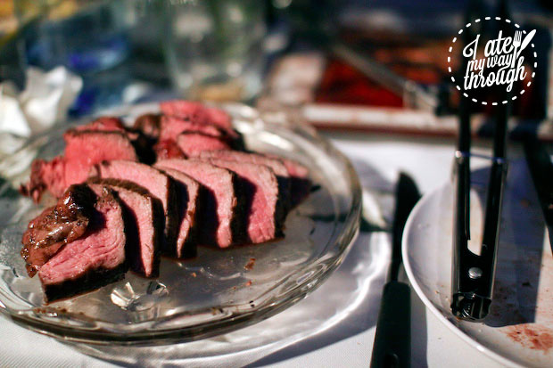 Slices of eye fillet from Butcherman sliced and cooked medium rare