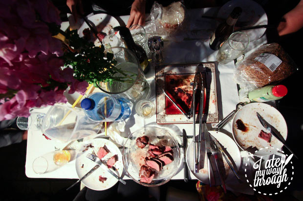 Top view of table from BBQ with Butcherman products