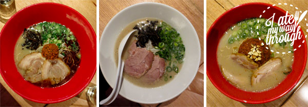 Different types of ramen at Ippudo