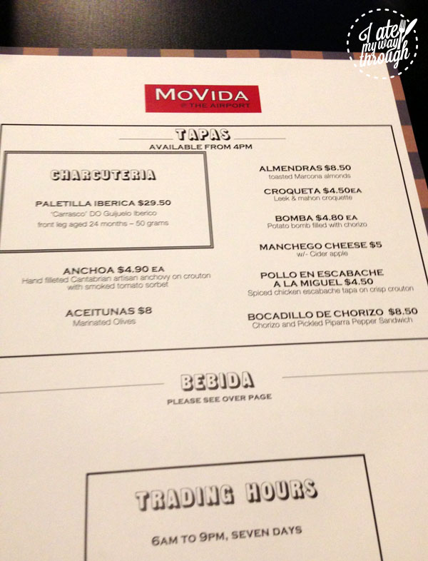 menu at MoVida, Sydney airport