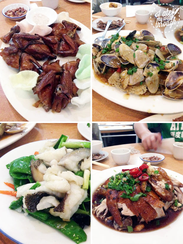 Crispy quail, pipis with xo sauce and vermicelli, cod stir fry with snow peas, Shandong chicken
