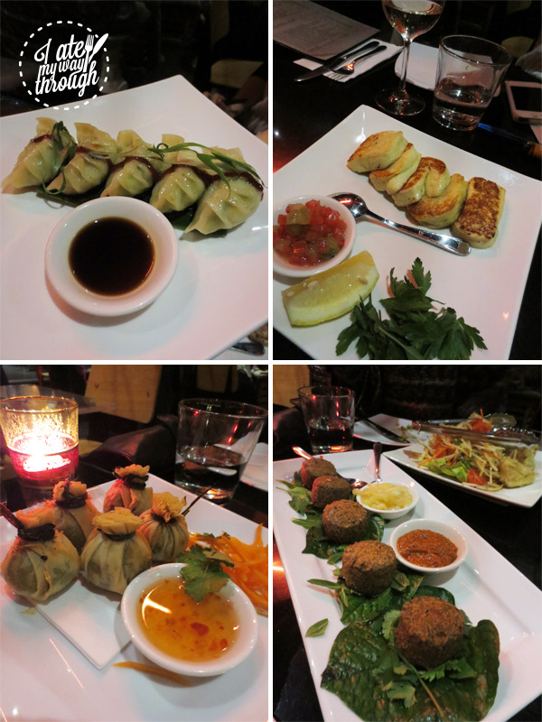 Dumplngs, haloumi and edamame and coconut money bags, course one, starters of banquet menu at Yulli's