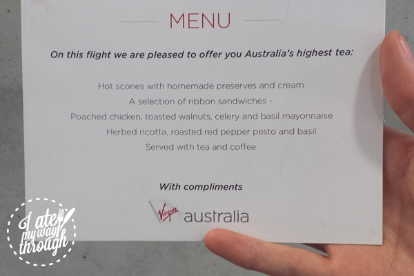 High tea menu prepared by Luke Mangan for Virgin Australia
