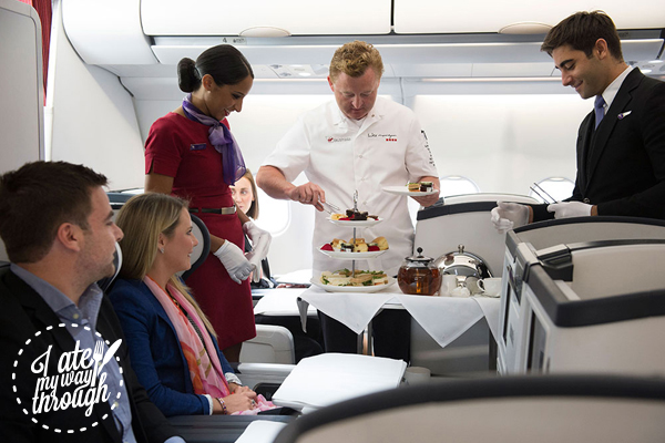 Luke Mangan and Virgin Australia crew serving High tea