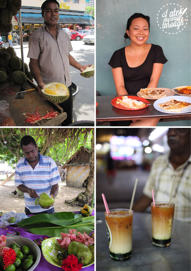 Food travel - durian in Singapore, Indian street food roti in Malaysia, soursop in Vanuatu, and Teh C Special with Pandan hawker drink in Penang