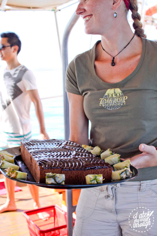 Morning tea, cake on Derwent Hunter tallship, Whitsundays