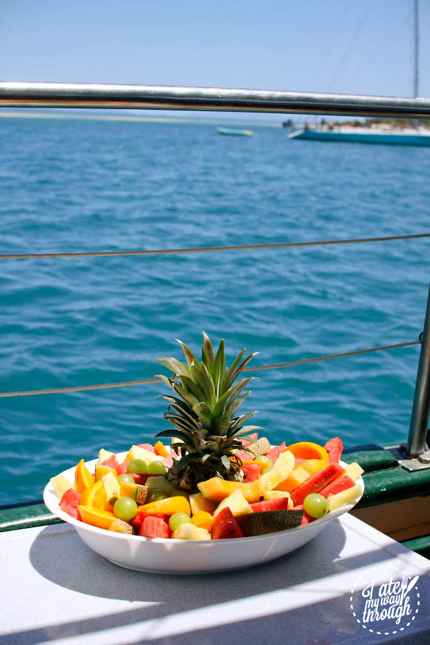 Fruit salad by the water onboard Derwent Hunter