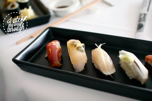 Collection of classic and modern Tokyo style nigiri sushi, Tokyo Lunch promotion at Ocean Room restaurant, Sydney
