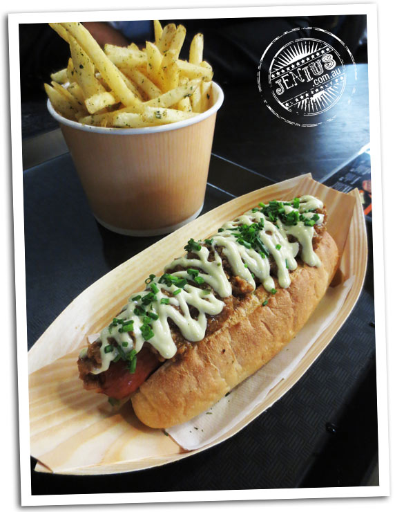Chanoma Japanese cafe, Sydney - Spicy meatlovers dog - sausage hot dog with misy miso pork mince, white beans and mayo