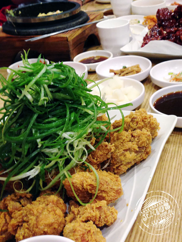 Korean fried chicken with shallots at Naruone