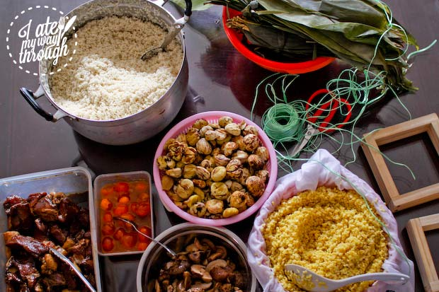 spread of banh chung ingredients on table
