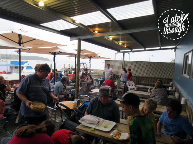 Outdoor deck at Innes Boatshed
