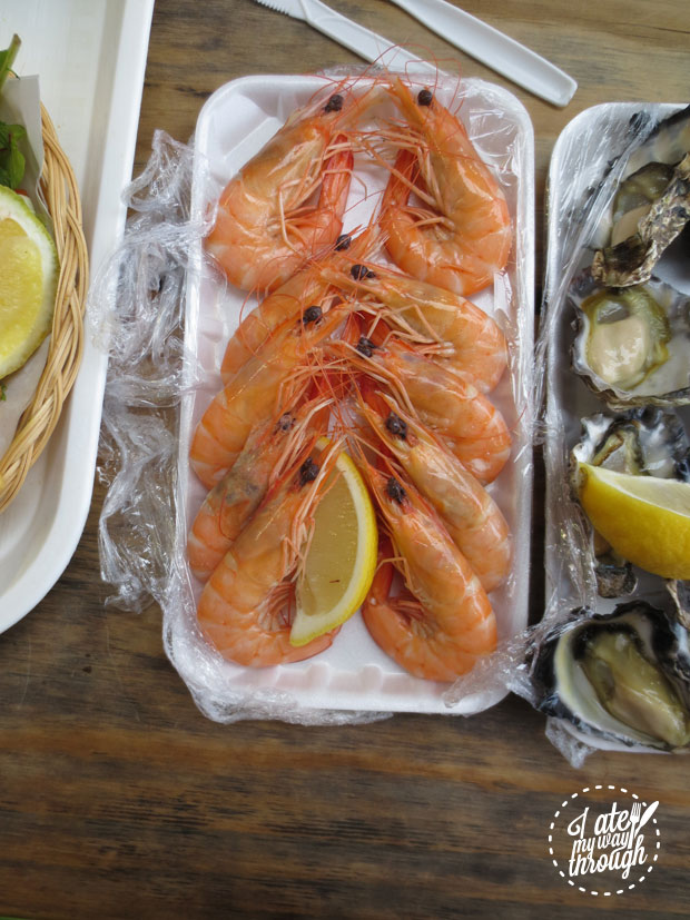 Prawns and oysters at Innes Boatshed