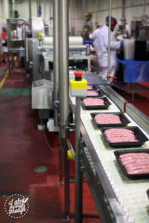 The sausage production line at Mr Beaks