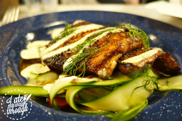 fish, blackened fish, cucumber, dill, red pepper