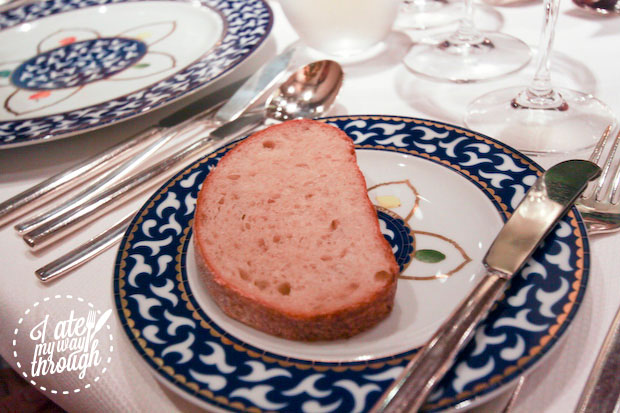 Bread on Bvlgari china plate, on Holland America Line