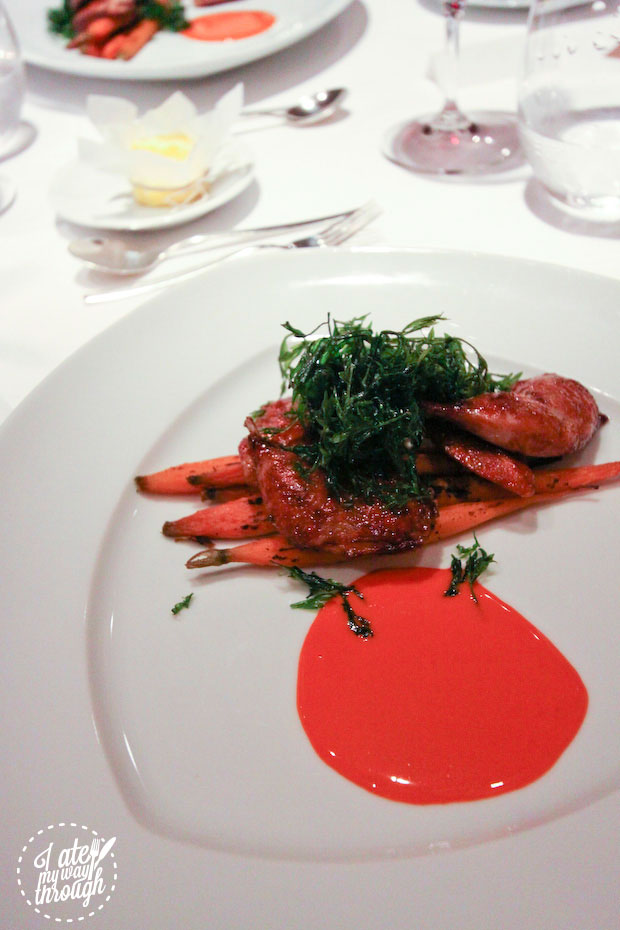 Red gate quail wth carrots and miso