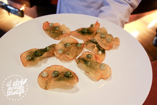 Mark Best, Marque Restaurant's potato maxims with oyster and wakame seaweed on board Holland America Line ms Amsterdam