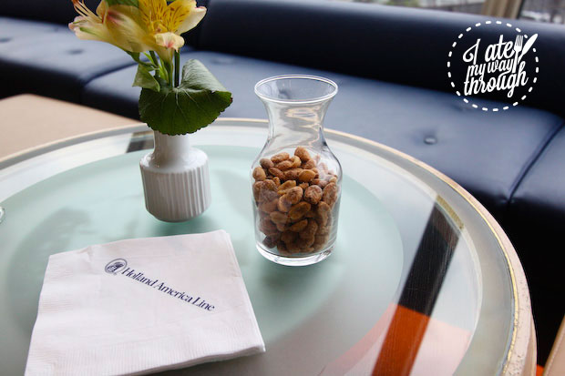 Nuts at the cocktail reception on board Holland America Line ms Amstedam