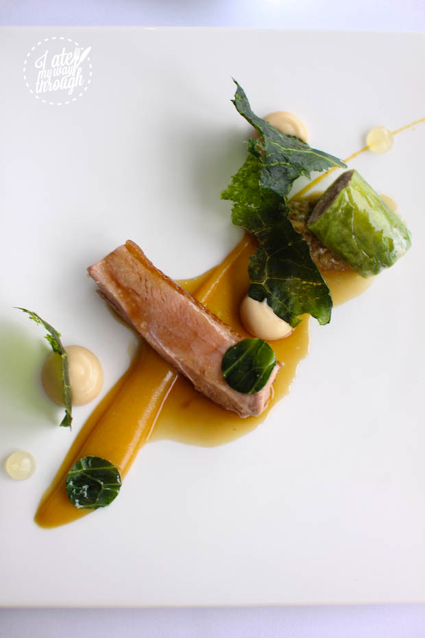 duck, cabbage and peach