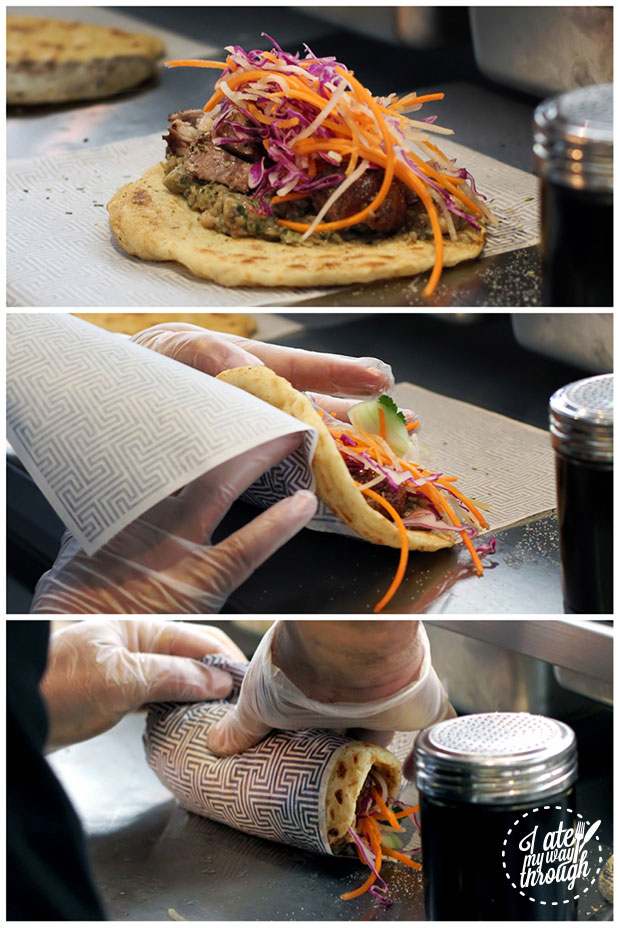 These are the steps to rolling your own souvla-pita!