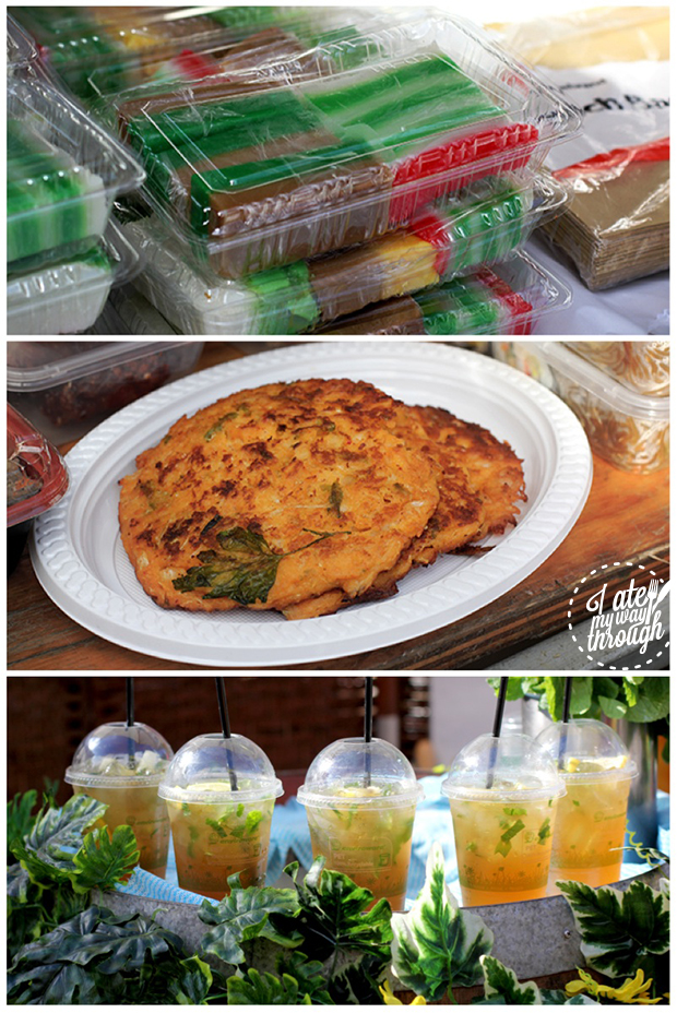 From top: Kueh Lapis, Korean Pancakes, Ginger Iced Tea