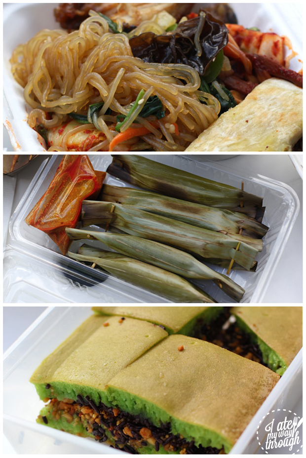 From top: Korean mixed box, Otak Otak, Mee Chiang Kueh