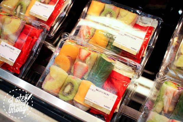 fruit rice paper rolls - Lotte Department Store food hall Busan Gwangbok