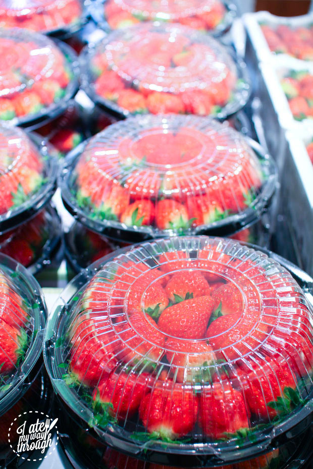 trays of strawberries - Lotte Department Store food hall Busan Gwangbok