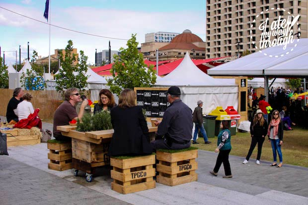 crate furniture at Town Square Tasting Australia