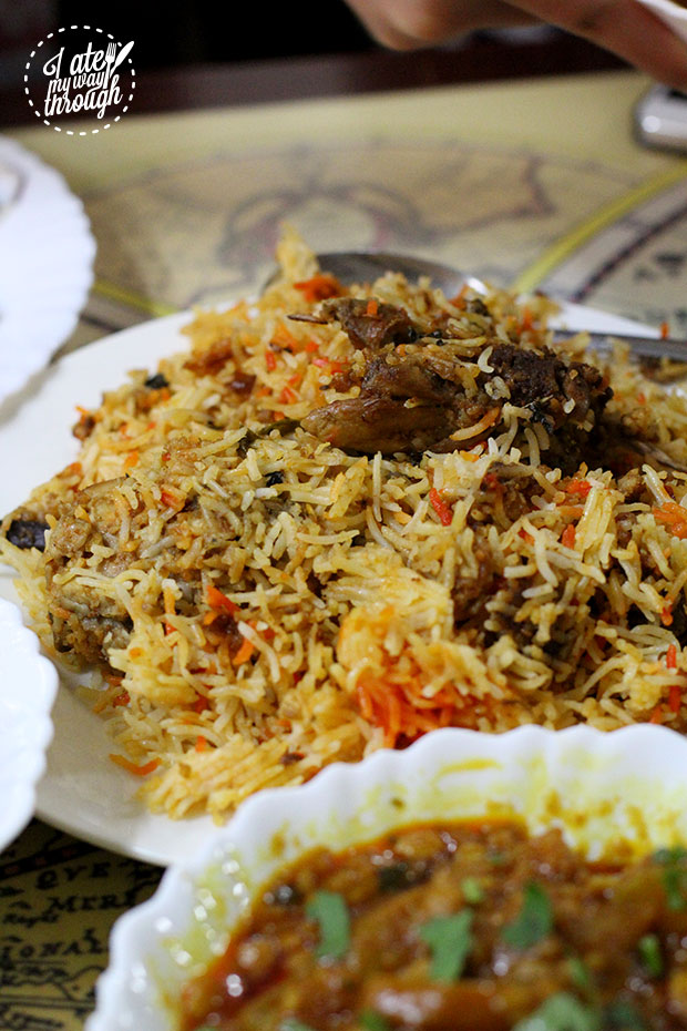 Basmati Rice is cooked with chicken, spices and saffron to create a fragrant dish.