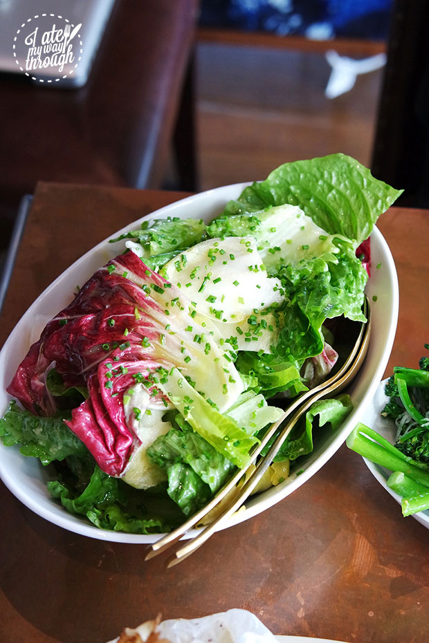 Mixed green salad, radicchio leaves, mustard and chive vinaigrette