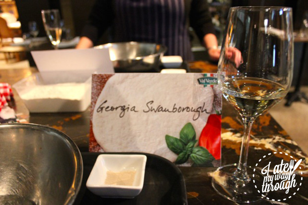 Place card at Val Verde pizza masterclass