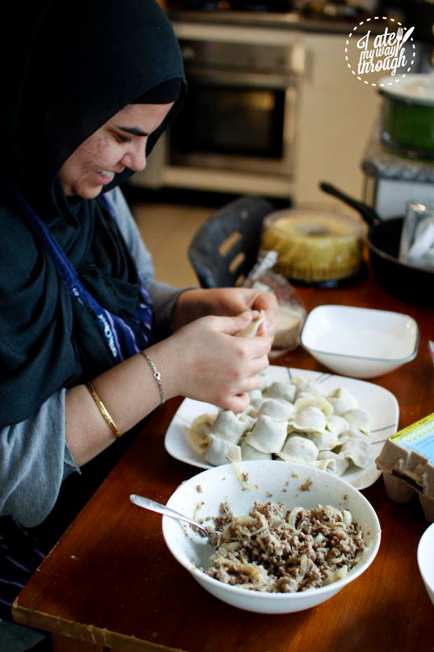 Wrapping mantu dumplings