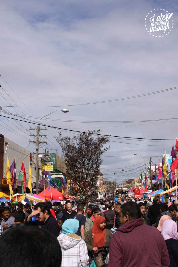 Crowds and street stalls at Lakemba street festival