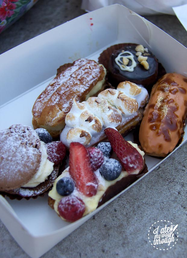 Tray of eclairs and petit fours