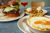 souffle; burger; fried chicken; chicken and waffles