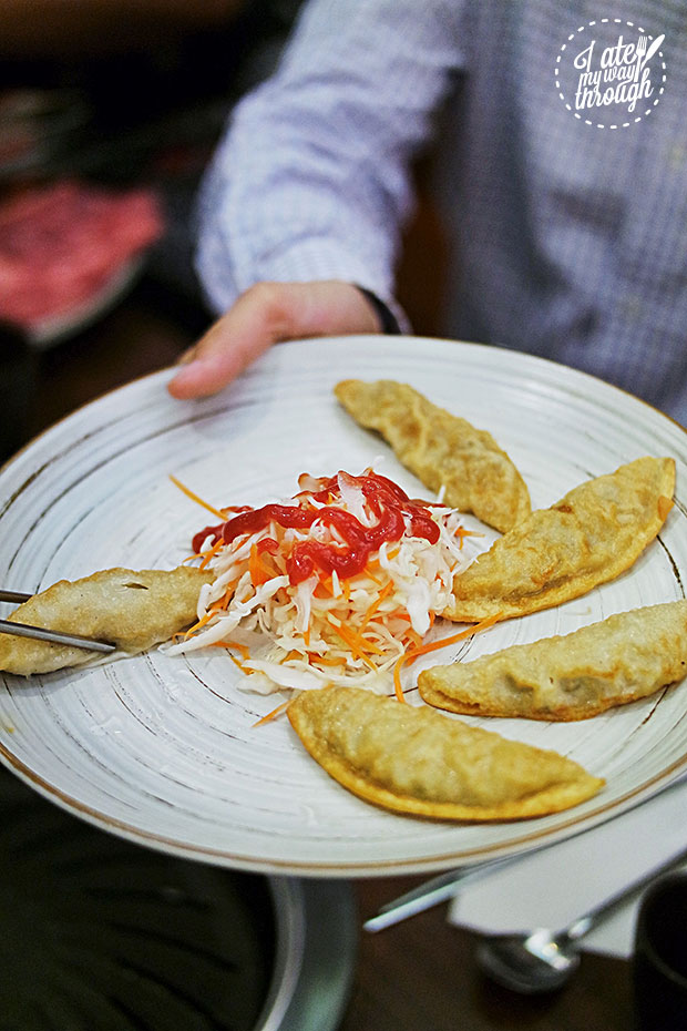 Crispy pan fried dumplings, $10
