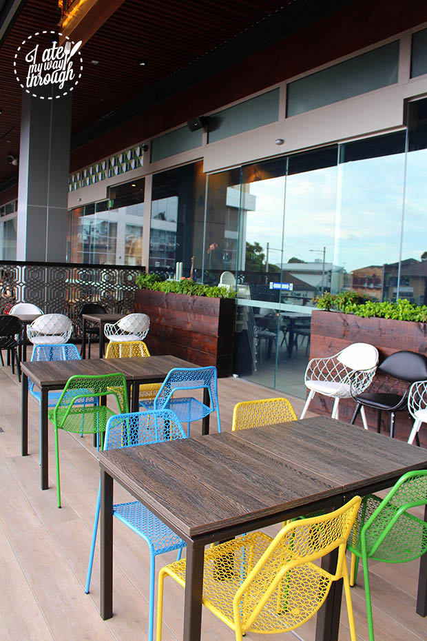Outdoor seating on the outdoor terrace at Top Ryde Shopping Centre