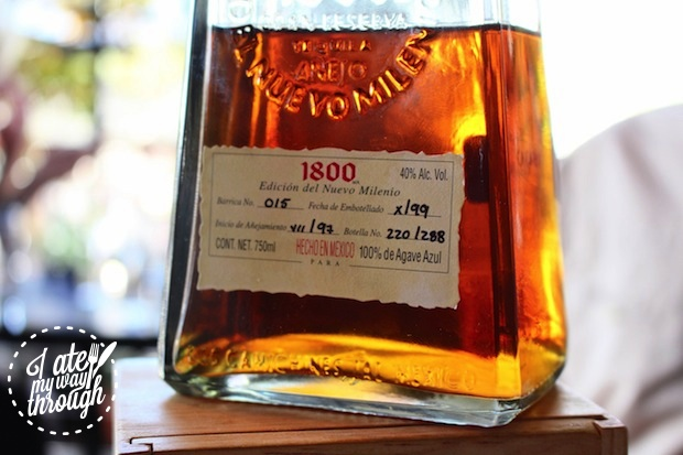Close up of the tequila bottle label