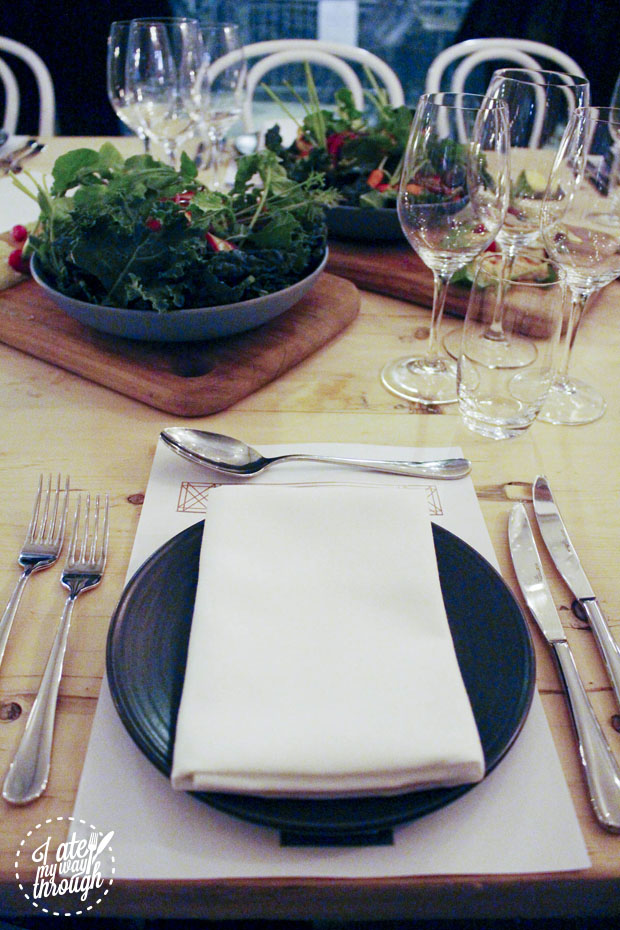 Table setting at The Gantry x Black Star Pastry collaboration dinner
