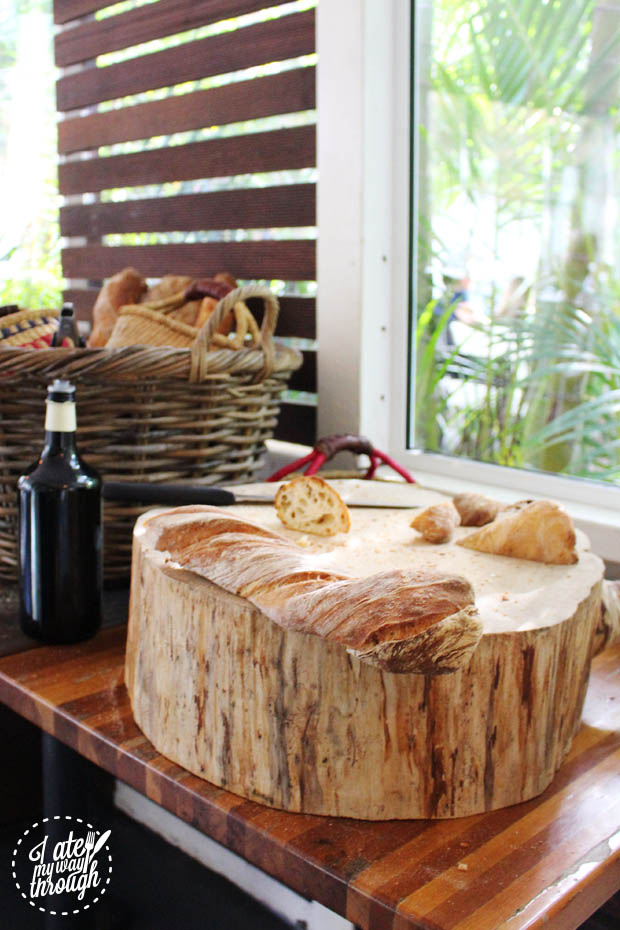 Fresh bread at restaurant entrance