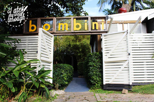 Bombini sign at restaurant entrance