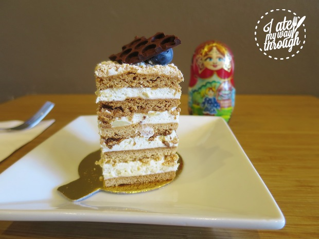 Russian Medovik (Honey Cake) made with honey pastry and vanilla cream cheese