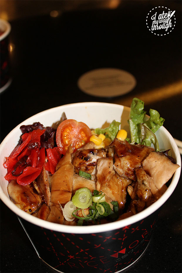 Teriyaki Chicken Donburi with char-grilled chicken, steamed rice and teriyaki sauce topping.