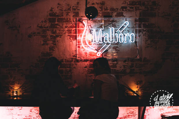 Marlboro Neon Sign Brick Wall - The Smoking Panda Interior