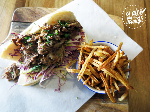 Pulled Lamb Po' Boy with red cabbage, cauliflower slaw and aioli